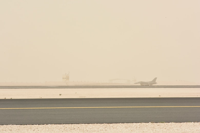 """An F-16 Fighting Falcon with the 555th Fighter Squadron, also known as the """"world famous, highly-respected"""" Triple Nickel, takes off at Al Udeid Air Base, Qatar on Feb. 26,  2020. While deployed to AUAB, the Triple Nickel flew more than 840 sorties and nearly 5,000 hours in less than 120 days, directly supporting combat operations in Operations Spartan Shield and Inherent Resolve. (U.S. Air Force photo by Tech. Sgt. John Wilkes)"""