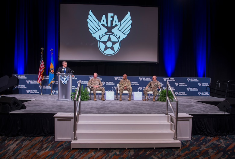 Gen. Jeff Harrigian, U.S. Air Forces in Europe and Air Forces Africa commander (right,) Gen. C.Q. Brown, U.S. Pacific Air Forces commander, and Gen. Terrence J. O'Shaughnessy, U.S. Northern Command and North American Aerospace Defense Command commander, participate in a panel discussion at Air Force Association Air Warfare Symposium on the emerging concept of Joint All-Domain Command and Control at the Air Force Association Air Warfare Symposium in Orlando, Florida, Feb. 27, 2020. JADC2 connects distributed sensors, shooters and data from all domains to all forces. (U.S. Air Force photo by Technical Sgt. Stephen Ocenosak)