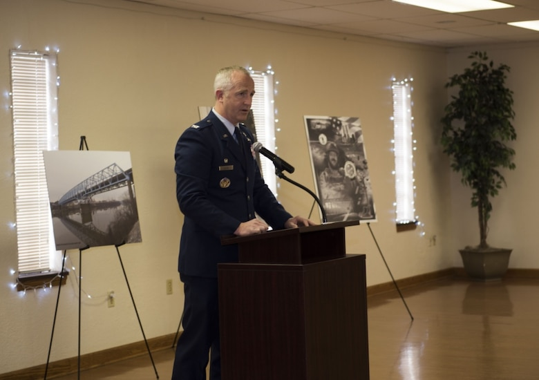 "U.S. Air Force Col. Matt Allen, commander of the 24th Special Operations Wing, speaks at a ceremony unveiling the newly named ""USAF Combat Controller Staff Sgt. Dylan Elchin Memorial Bridge"" in Rochester, Pa. Feb 29, 2020. Elchin was killed alongside two U.S. Army Special Forces members when their vehicle struck an improvised explosive device in Ghazni Province, Afghanistan, Nov. 27, 2018."