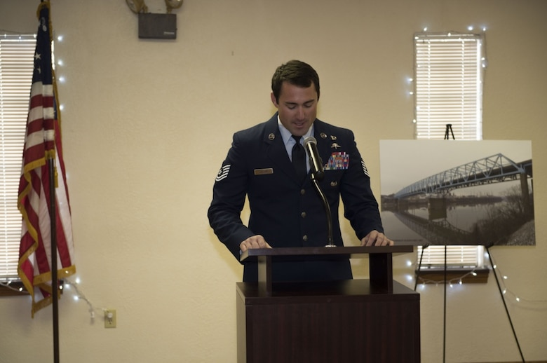 "U.S. Air Force Tech Sgt. Adam Lollar, teammate of fallen combat controller Staff Sgt. Dylan Elchin, speaks at a ceremony unveiling the newly named ""USAF Combat Controller Staff Sgt. Dylan Elchin Memorial Bridge"" in Rochester, Pa. Feb 29, 2020. Elchin was killed alongside two U.S. Army Special Forces members when their vehicle struck an improvised explosive device in Ghazni Province, Afghanistan, Nov. 27, 2018."