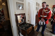 "On Jan. 1, 2020, at Marine Barracks Washington, D.C., the Marine Band performed the ""Surprise Serenade"" for the 38th Commandant of the Marine Corps General David H. Berger. A tradition that dates back to the mid-1800s, the ensemble performed The Marines' Hymn, ""Bless this House,"" and ""Semper Fidelis.""  Following the serenade, the band was invited into the Home of the Commandants for a tour. (U.S. Marine Corps photos by Master Gunnery Sgt. Amanda Simmons/released)"