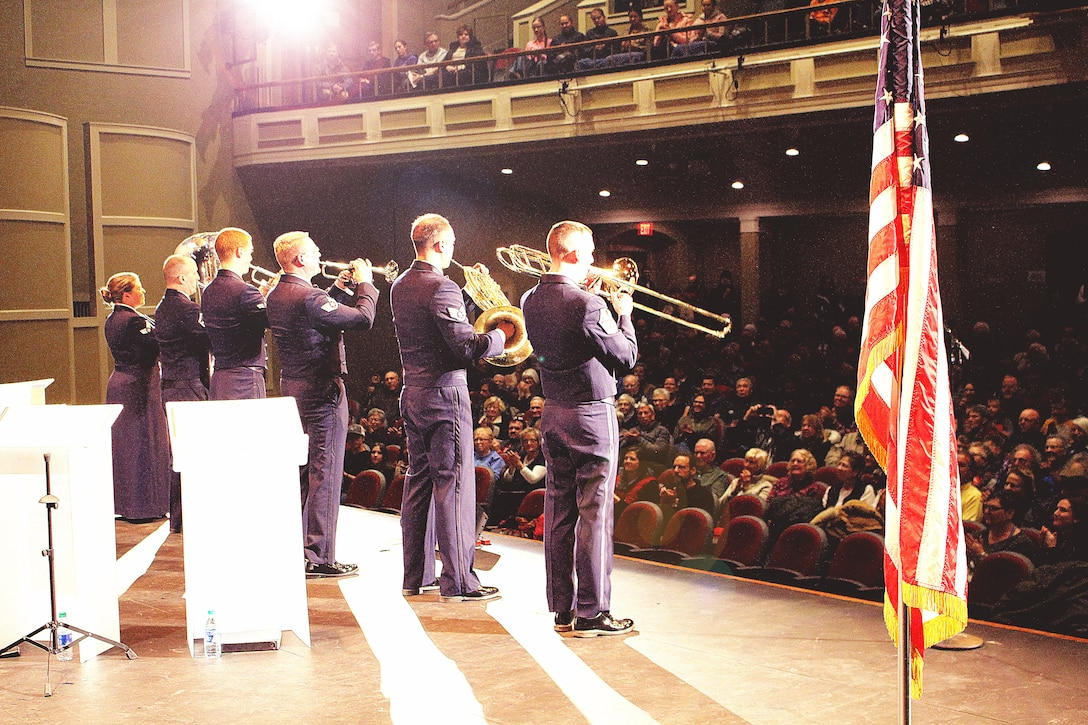 From the USAF Heartland of America Band, the members of Offutt Brass entertain a capacity audience at the Merryman Performing Arts Center in Kearney, Nebraska.  11 November 2019
