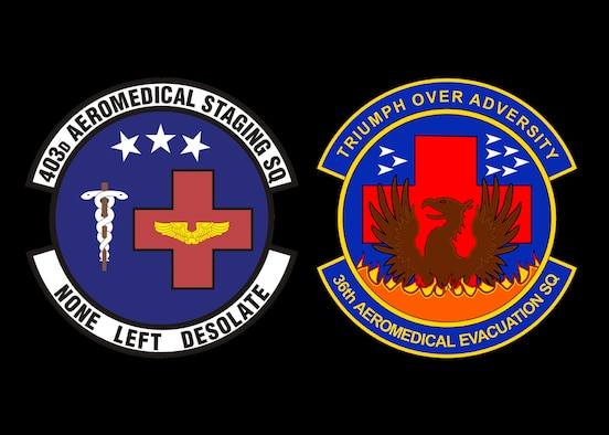 Graphic containing unit patches of the medical squadrons of the 403rd Wing, the 403rd Aeromedical Staging Squadron and the 36th Aeromedical Evacuation Squadron (U.S. Air Force graphic by Jessica L. Kendziorek)