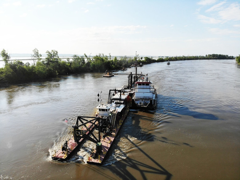 "Dredge Iowa is used to complete the initial breach repair at the ""A"" breach location on the Missouri River L-575 Levee System June 13."