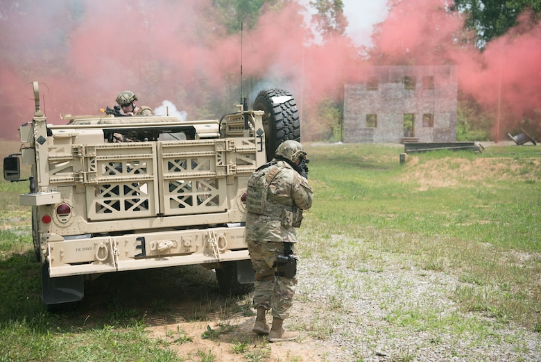 Members of the Kentucky Air National Guard's 123rd Security Forces Squadron execute a simulated short-notice mission to degrade terrorist capabilities during a field training exercise at Fort Knox, Ky., May 21, 2019. The exercise was designed to test security tactics in a simulated Afghan village from May 18-22. (U.S. Air National Guard photo by Phil Speck)