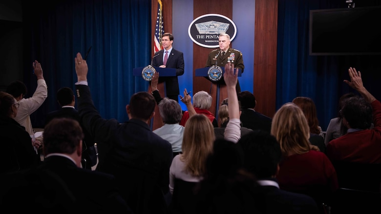 Defense Secretary Dr. Mark T. Esper and Chairman of the Joint Chiefs of Staff Army Gen. Mark A. Milley brief the media at the Pentagon, Dec. 20, 2019.