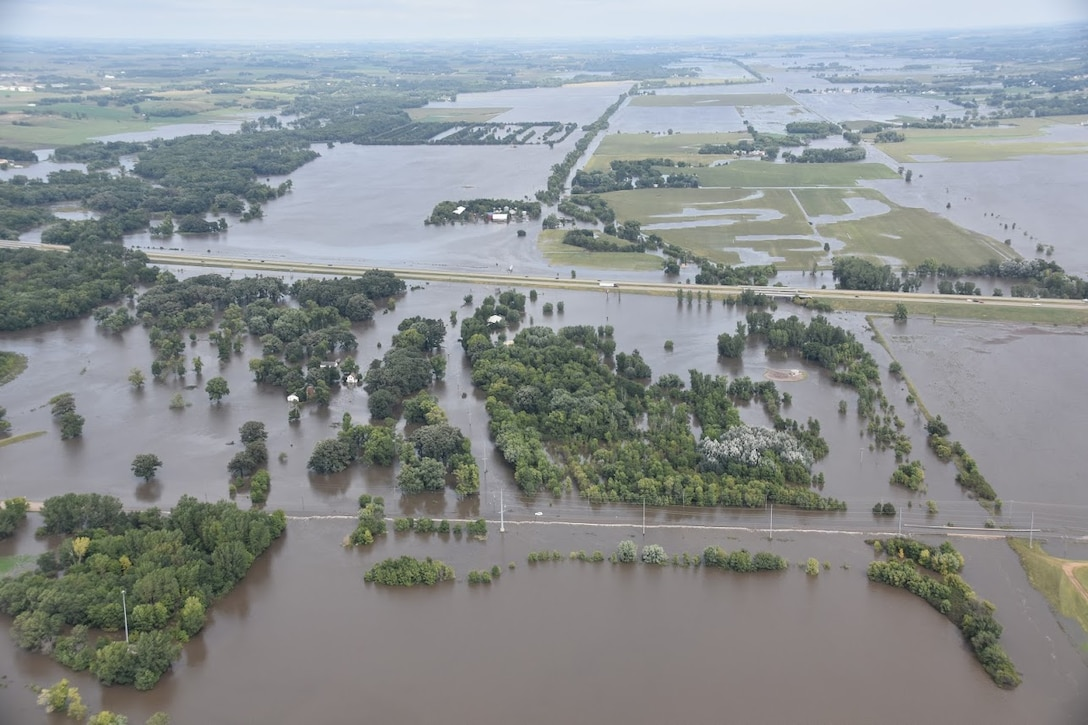 Big Sioux River flooding at Interstate 90 in South Dakota (Photo from South Dakota Civil Air Patrol)