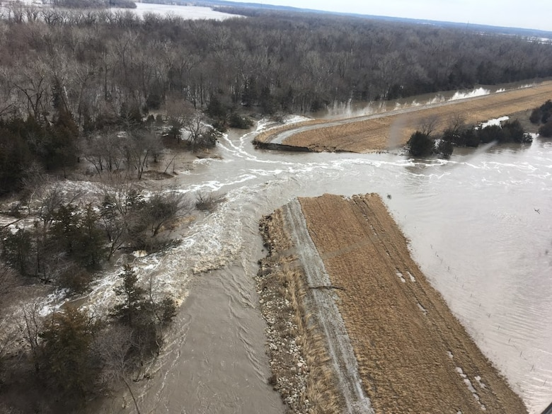 The breach on the Clear Creek Levee System along the Platte River March 17.