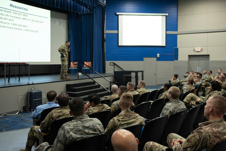 A photo of the 23d wing commander addressing Airmen