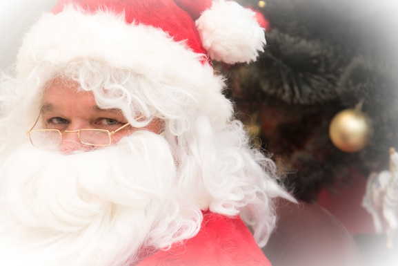 Santa visits the 108th Wing to bring holiday cheer at Joint Base McGuire-Dix-Lakehurst, N.J., Dec. 18, 2019. Santa walked around the 108th Wing campus giving hugs and candy canes to all the Airmen.