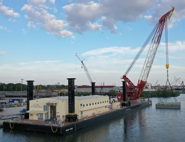 """The U.S. Army Corps of Engineers' Marine Design Center managed the procurement of the Floating Crane """"Quad Cities"""" on behalf of the USACE Rock Island District."""
