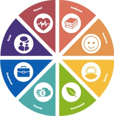 """Graphic image of a sample """"Wellness Wheel"""" similar to a pie chart with pieces representing different aspects of wellness such as intellectual, emotional, physical, social, spiritual and occupational."""