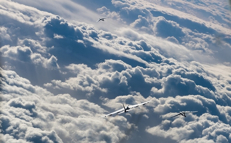 Three B-52 Stratofortresses deployed from Barksdale Air Force Base, La., fly a sortie in support of U.S. Strategic Command's Bomber Task Force in Europe over Norway, March 28, 2019. Forward locations, like RAF Fairford, England where the B-52s are deployed, enable collective defense capabilities and provide the U.S. and NATO the strategic and operational breadth needed to deter adversaries and assure allies and partners.