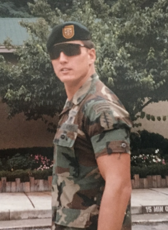 Now-Air Force Lt. Col. Robert Heil, 422nd Medical Squadron commander, poses for a photo during his prior career as an Army Special Forces medic. Heil served 12 years in the Army before transitioning to the Air Force. (Courtesy photo)