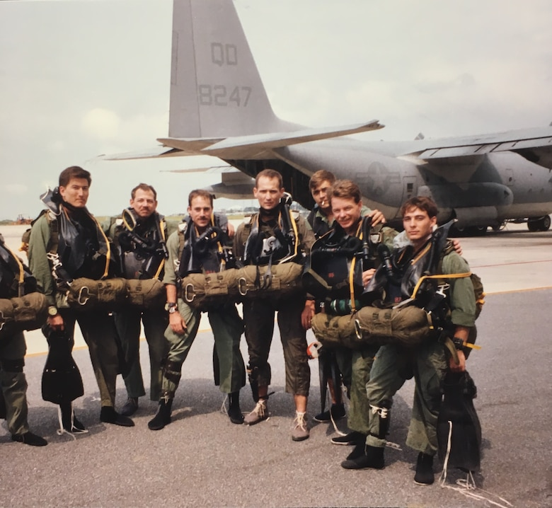Now-Air Force Lt. Col. Robert Heil, 422nd Medical Squadron commander, poses for a photo with his scuba team during his prior career as an Army Special Forces medic. Heil served 12 years in the Army before transitioning to the Air Force. (Courtesy photo)