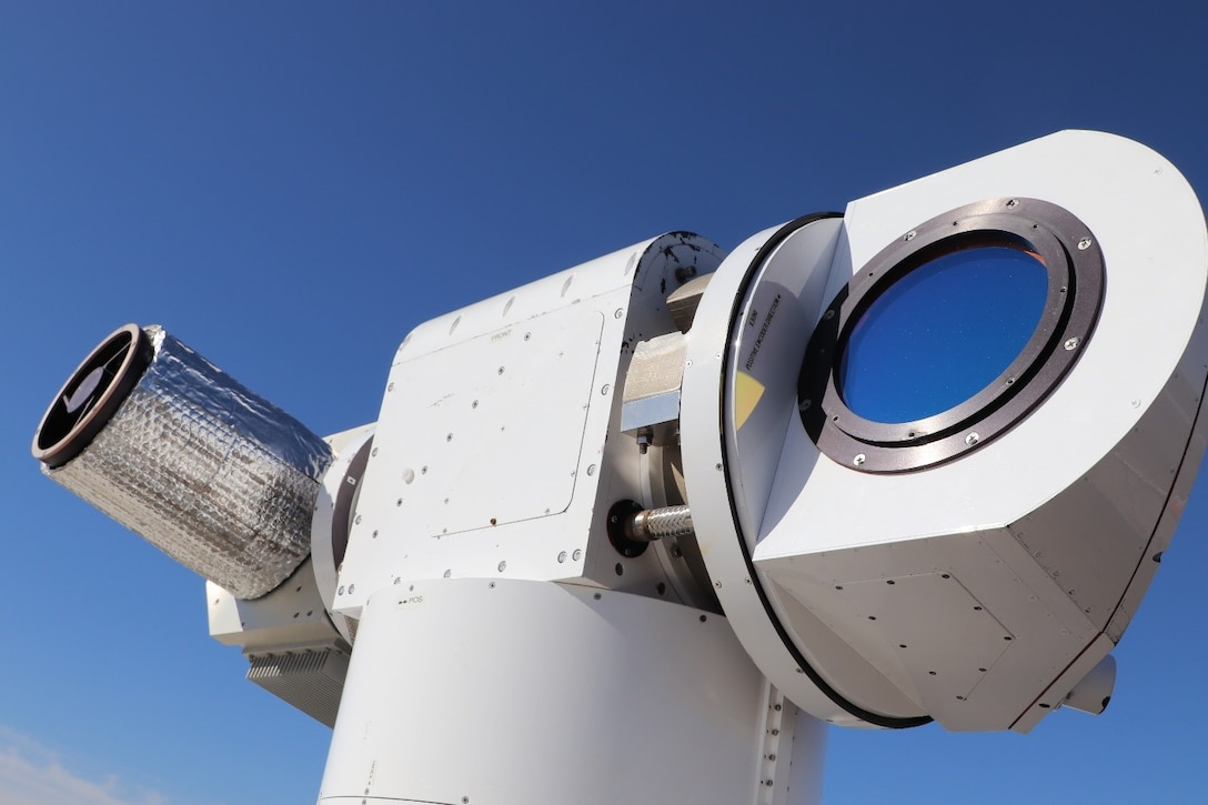 A high energy laser weapon emits a laser beam that, when aimed at airborne targets such as unmanned aerial systems, renders them unable to fly by burning a hole in them.  Pictured here is the Lockheed Martin's Advanced Test High Energy Asset system, also known as ATHENA, which participated in Experiment 1b, at Fort Sill, Oklahoma. (U.S. Army photo by MFIX team)