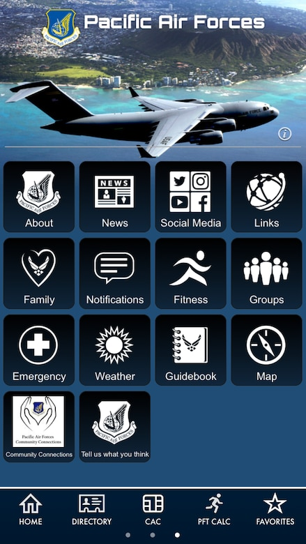 The Pacific Air Forces app is now available on Air Force Connect, the Air Force-wide mobile app. It's the Air Force's total force mobile app and is equipped with more than 20 features that are exclusively built and designed to enable, engage, and empower our Airmen across the globe. (U.S. Air Force photo by Staff Sgt. Mikaley Kline)