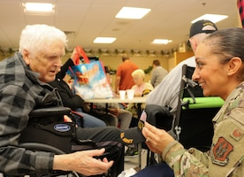 Members of the 507th Air Refueling Wing visited with veterans at the Norman Veteran's Center in Norman, Oklahoma, Dec. 20, 2019. (U.S. Air Force photo by Senior Airman Mary Begy)