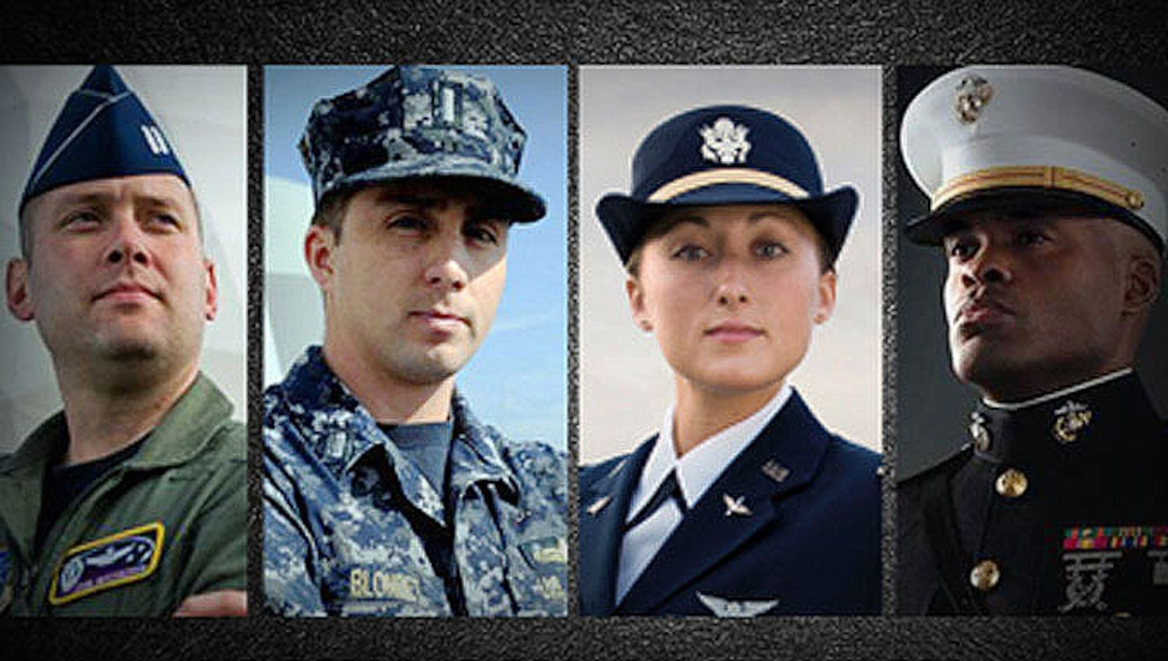 Graphic of service members from all four branches of service, representing the Interservice Transfer program