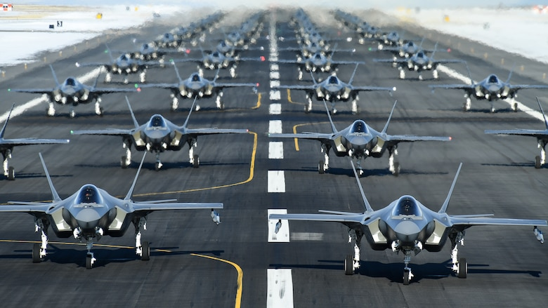 A photo of F-35As on the runway at Hill Air Force Base, Utah.