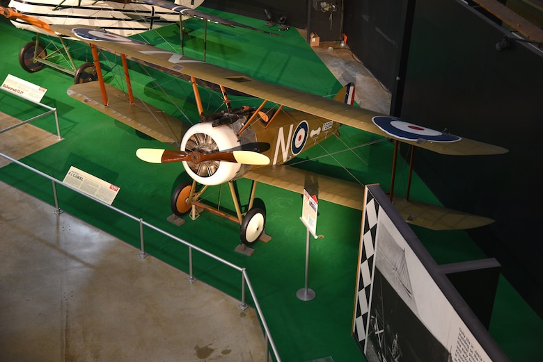 One early years aircraft on display. This is a fixed wing biplane that was driven by propellers. Sopwith F-1 Camel