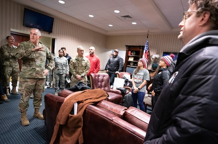 Vice Chairman of the Joint Chiefs of Staff Gen. John E. Hyten greets the USO Talent at Joint Base Andrews before taking off for the Chairman's USO New Year's Tour 2020, on Jan. 5, 2020. Hyten hosted the Chairman's USO Tour on behalf of Chairman of the Joint Chiefs of Staff Gen. Mark A. Milley to bring Washington Nationals Aaron Barrett and Adam Eaton, comedians Scott Armstrong and Matt Walsh, actor Brad Morris, country music band LoCash, MMA Fighters Illima-Lei Macfarlane and Felice Herrig; and DJ J Dayz to show service members in the U.S. European area of responsibility that America remembers them and values their service.