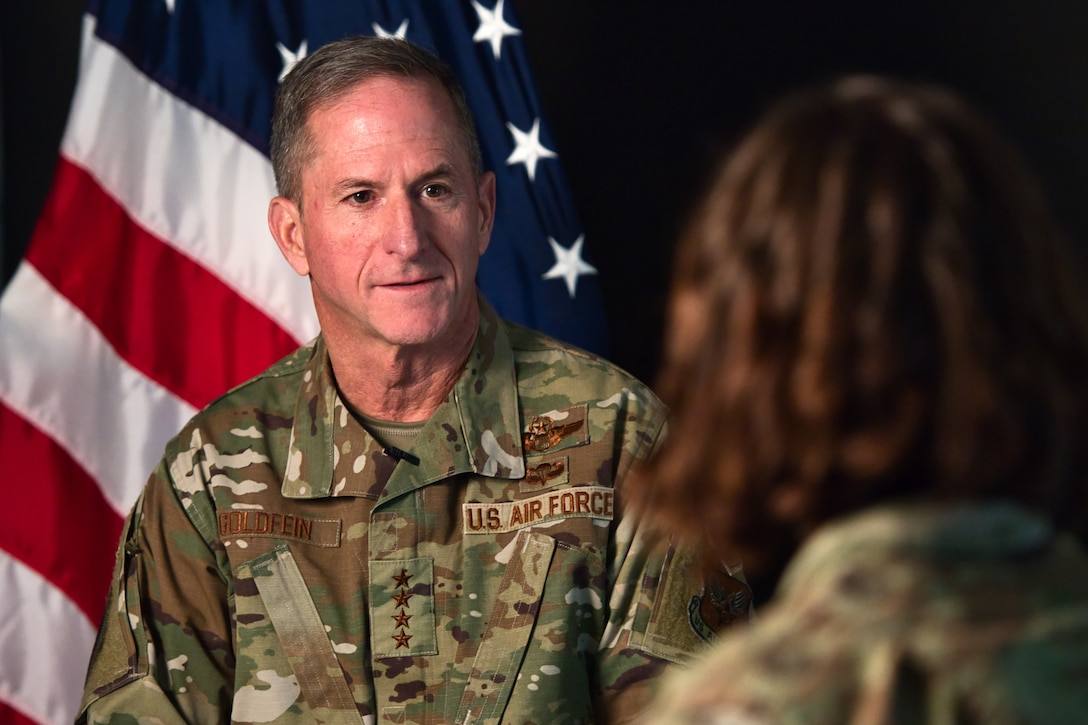 General David L. Goldfein, Chief of Staff of the U.S. Air Force, participates in an interview during his visit to Schriever Air Force Base, Colorado, Jan. 3, 2020. Goldfein visited the base as part of his Standing Watch Tour, in which he visited Airmen who work 24/7, 365 days a year to show appreciation for their efforts and sacrifices. (U.S. Air Force by Kathryn Calvert)