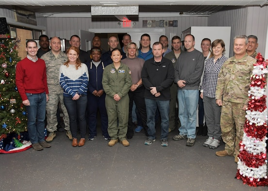 Participants in the 94th Airlift Wing's first three-day flight commanders' course pose for a group photo at Dobbins Air Reserve Base, Georgia on Dec. 10, 2019. Course participants represented all groups in the wing and gained valuable skills to strengthen teamwork and their understanding of Dobbins. (U.S. Air Force photo/Andrew Park)