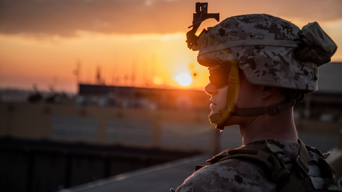 A U.S. Marine with 2nd Battalion, 7th Marines, assigned to the Special Purpose Marine Air-Ground Task Force-Crisis Response-Central Command (SPMAGTF-CR-CC) 19.2, stands post during the reinforcement of the Baghdad Embassy Compound in Iraq, Jan. 4, 2020. The SPMAGTF-CR-CC is a quick reaction force, prepared to deploy a variety of capabilities across the region. (U.S. Marine Corps photo by Sgt. Kyle C. Talbot)