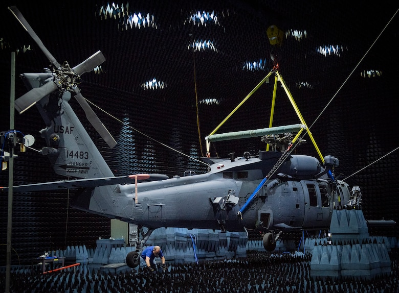 Hang in there:  HH-60W enters chamber for defense systems testin