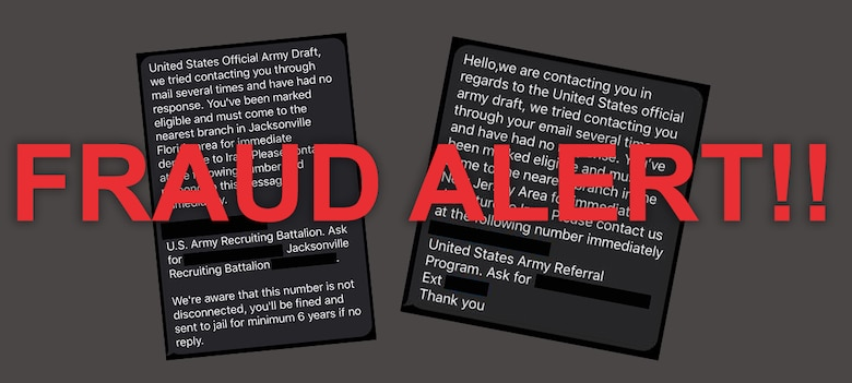 a gray, black, white, and red graphic containing two text messages with red letters indicating a fraud alert.