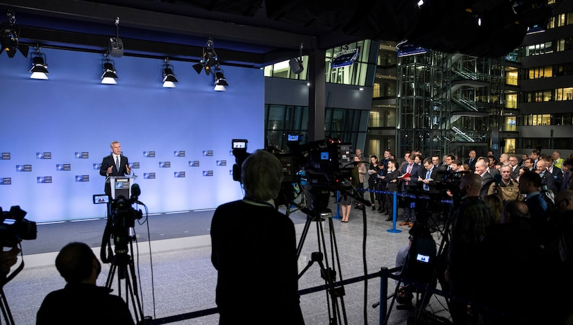 NATO Secretary General Jens Stoltenberg briefs the media on the North Atlantic Council meetings on the situation in the Middle East. The alliance is suspending training operations in Iraq for the time being. Photo By: NATO