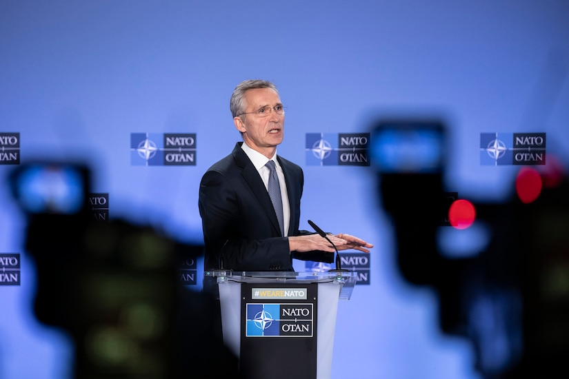 NATO Secretary General Jens Stoltenberg tells reporters that the alliance will suspend training Iraqi forces until the situation in the country stabilizes. Photo By: NATO