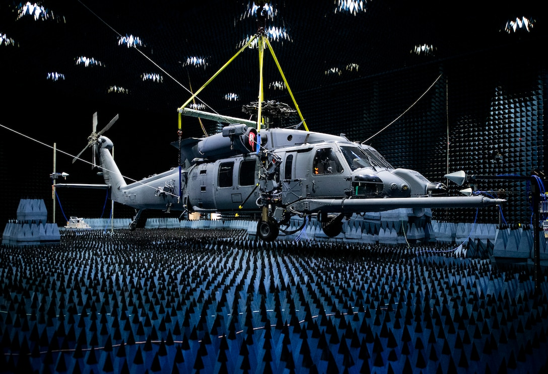 Hang in there:  HH-60W enters chamber for defensive systems testin