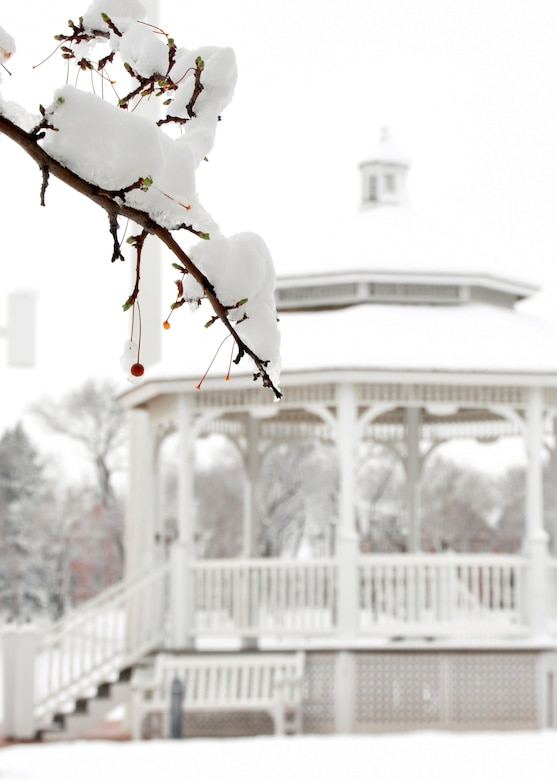 snow covered tree branch in the foreground and gazebo in background at Offutt parade grounds