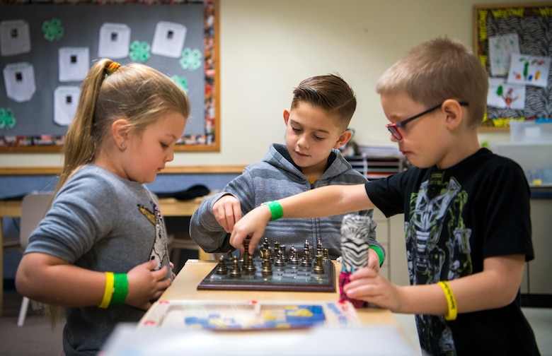 Students from Dysart Unified School District play chess during the Youth Center Winter Break Camp Dec. 31, 2019, at Luke Air Force Base, Ariz.