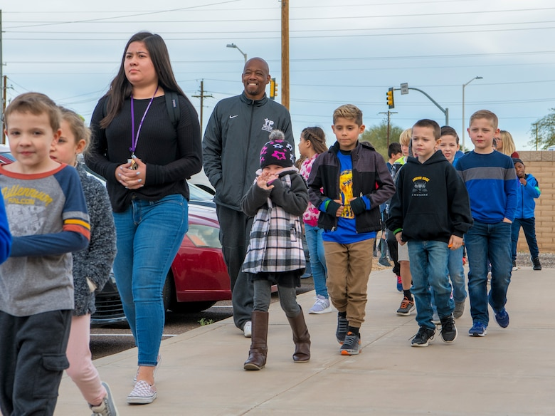 Students from Dysart Unified School District arrive at the Youth Center to attend the Winter Break Camp, Dec. 31, 2019, Luke Air Force Base, Ariz.