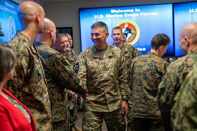U.S. Army Gen. Stephen J. Townsend, U.S. Africa Command commander, meets with Marines from U.S. Marine Corps Forces, Europe and Africa at U.S. Army Garrison Panzer Kaserne in Boblingen, Germany, December 19, 2019