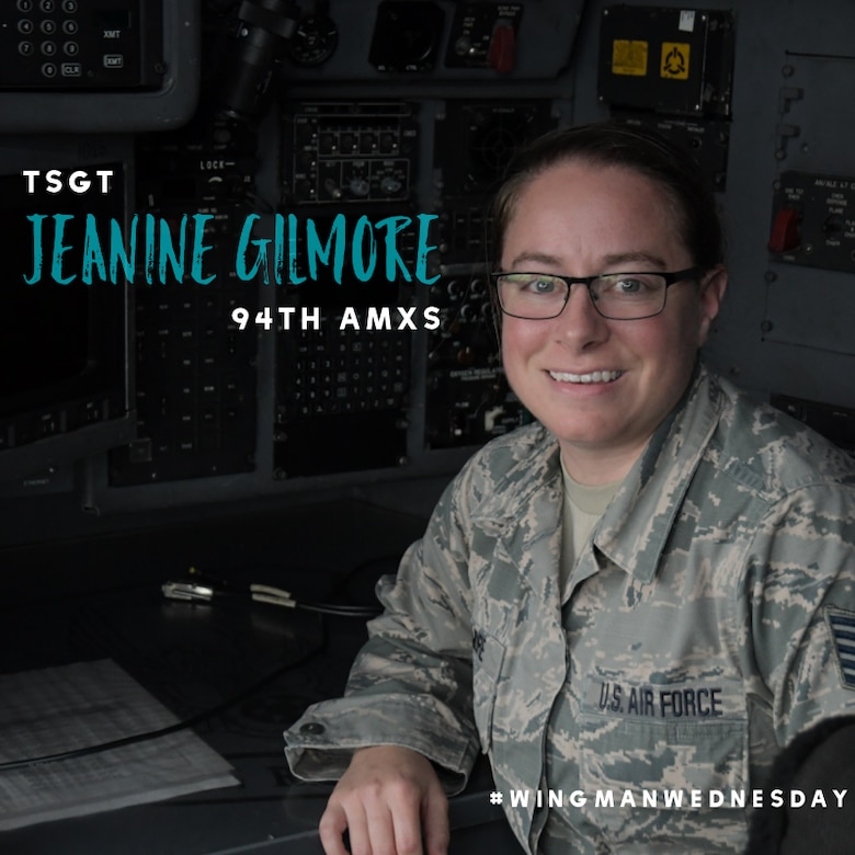 This week's featured wingman is Tech. Sgt. Jeanine Gilmore, a 94th Aircraft Maintenance Squadron systems technician. #wingmanwednesday is a series spotlighting individuals around Dobbins Air Reserve Base. (U.S. Air Force graphic/Andrew Park)