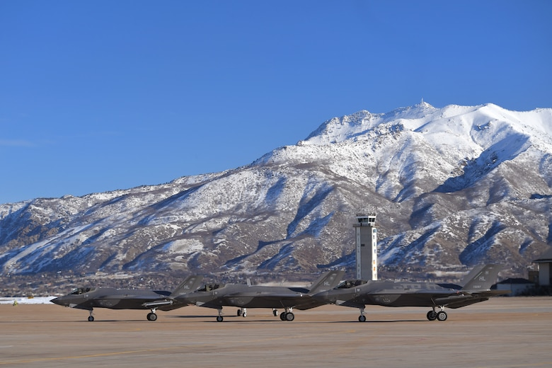 F-35 Lightning II fighter jets assigned to Hill Air Force Base, Utah, prepare to taxi during a combat power exercise