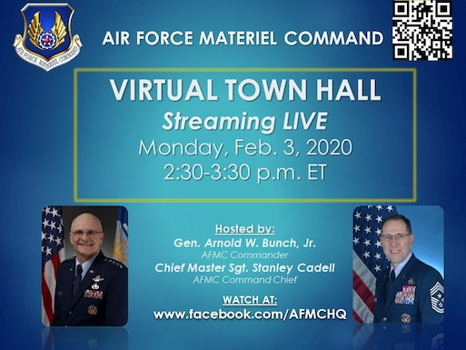 Graphic gives details of AFMC virtual town hall streaming Monday, Feb. 3, 2020 at 2:30 p.m. EST.