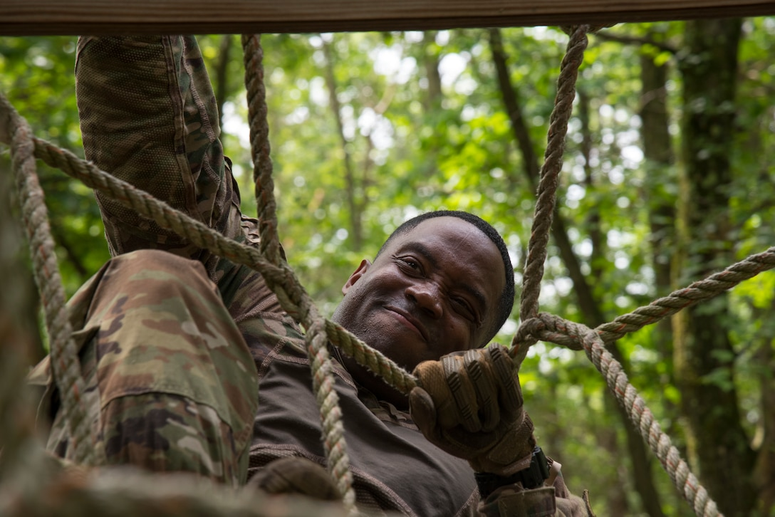 Tech. Sgt. completes an obstacle course