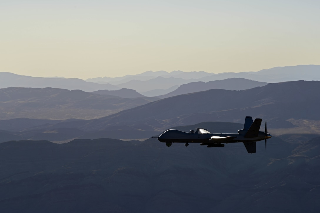 An MQ-9 Reaper flies over the Nevada Test and Training Range