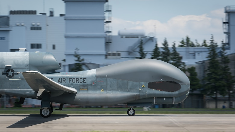An RQ-4 Global Hawk remotely-piloted surveillance aircraft