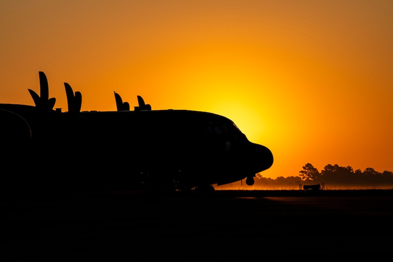 An HC-130J Combat King II parked on the flightline