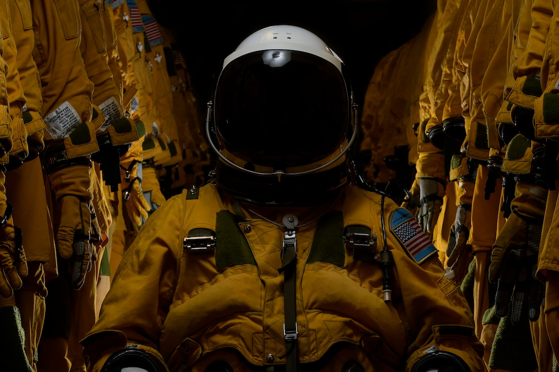 A U-2 Dragon Lady pilot poses for a portrait inside a pressure suit