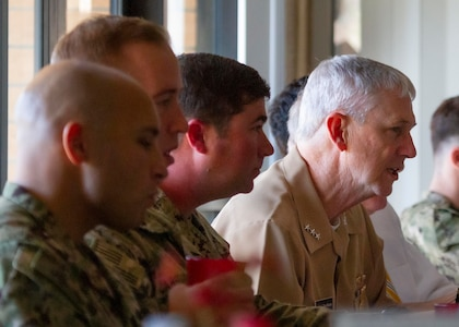 Vice Adm. Thomas Moore, commander, Naval Sea Systems Command (NAVSEA), visited Naval Surface Warfare Center Panama City Division (NSWC PCD) Jan. 7.  During his visit, Moore attended a luncheon with NSWC PCD Sailors.