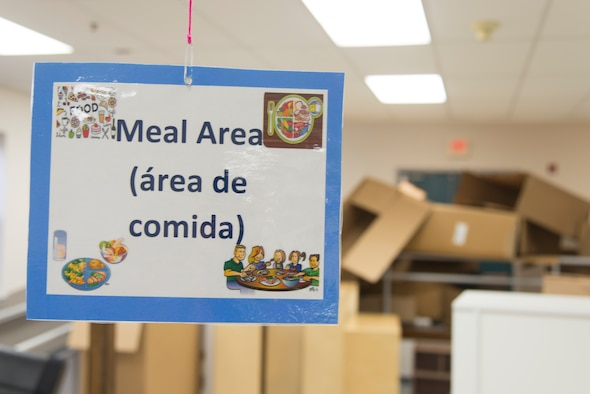 "A ""meal area"" sign dangles from the ceiling at the youth center at Laughlin Air Force Base, Texas, Jan 8, 2020. Starting this year, the center is sporting a new look, complete with renovations, new furniture, and equipment. (U.S. Air Force photo by Senior Airman Daniel Hambor)"