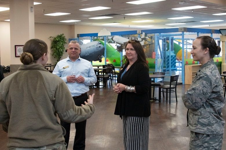 Dawna Webb, spouse of Lt. Gen. Brad Webb, commander of Air Education and Training Command, and Robb Gudgel, spouse of Chief Master Sgt. Julie Gudgel, command chief of AETC, are shown the Freedom Community Center and the quality of life improvements made through the 97th Force Support Squadron.
