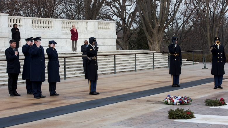 Air Force Office of Special Investigations Headquarters leadership, left, render honors with members of the 3rd U.S. Infantry Regiment (The Old Guard) during the laying of the AFOSI wreath at the Tomb of the Unknown Soldier at Arlington National Cemetery, Va., Jan. 7, 2020. (U.S. Air Force photo by Staff Sgt. Jeremy Mosier, SAF/PAI)